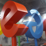 google brand logo spray paint customized aluminium panel sin heng long motor work